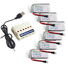 Wwman 6pcs 3.7V 780mah Batteries And 1to6 Battery Charger for UDI U45 U42 U42W SYMA X5SC Rc Quadcopter Drone Spare Parts