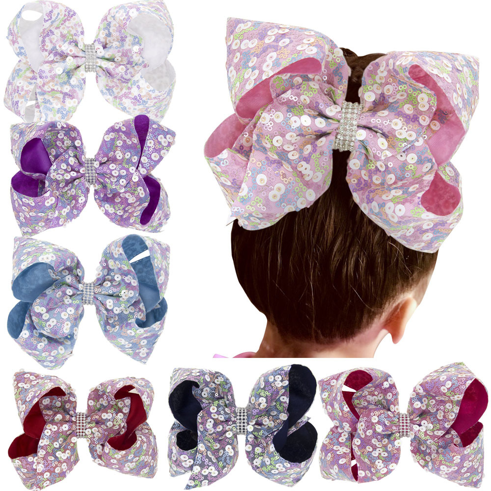 6.2 Inches Girls Sequins Hairpins Hair Bows Crystal Hair Clips Barrettes Alligator Clips Bowknot Hair Ornament Accessories