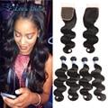 8A Brazilian Virgin Hair With Closure Brazilian Virgin hair Body Wave 4 bundles with Closure Human Hair Bundles With Closure