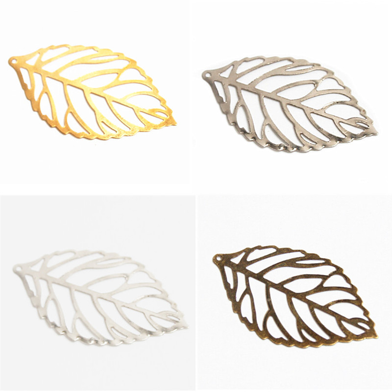 50Pcs Leaf Filigree Wraps Connectors Metal Crafts Connector for Jewelry Making DIY Earing Jewelry Accessories manual metal bending machine press brake for making metal model diy s n 20012