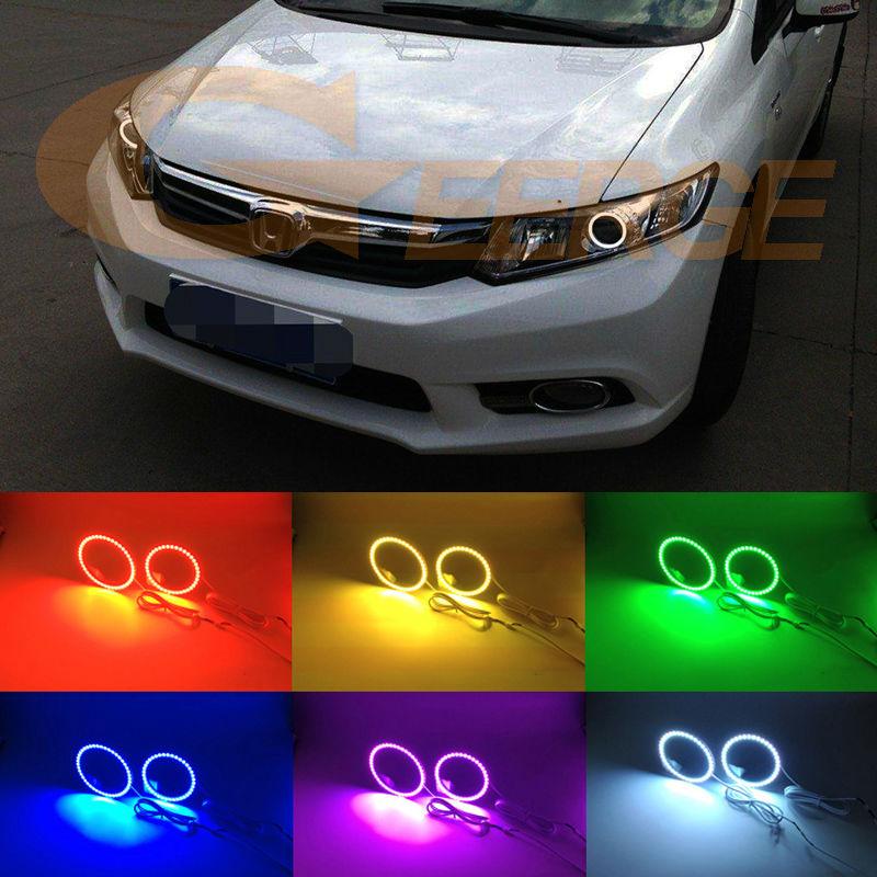 Для Honda Civic седан 2012 2013 2014 2015 Ксеноновые фары, Мульти-Цвет Ультра яркий RGB из светодиодов Ангел глаза комплект гало кольцо