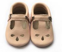 2017 New Handmade Genuine Leather Baby Moccasins Shoes Soft Sole Mary Jane Baby Girls Boys Shoes