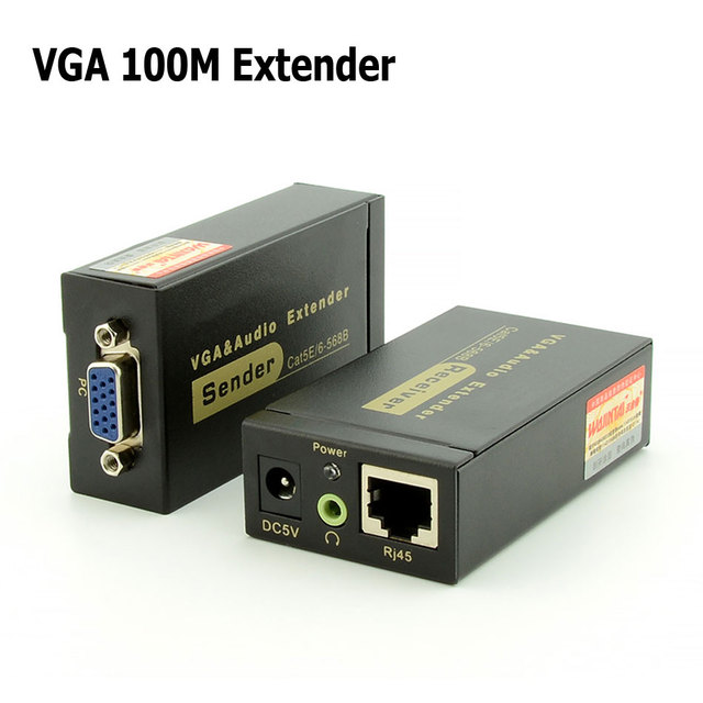 High Definition 1920x1440 VGA Extender Over 100M Cat5e 6 568B Network Cable Sender Receiver Adapter For HDTV Porjector Monitor