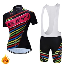 TELEYI Glenna Women Bike Shirt 100% Polyester Breathable Bicycle Clothes Summer UV Cycling Jersey Short Sleeve Cycling Clothing