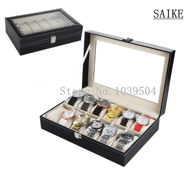 цены Standard 12 Grids PU Watch Display Box Black Leather Watches Box 12 Upscale Solid Watch Jewelry Gift Box For Luxury Watch D247