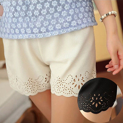 2017 New Fashion Short Floral High Waisted Elastic Solid Summer Beach Casual Hot White Formal Shorts