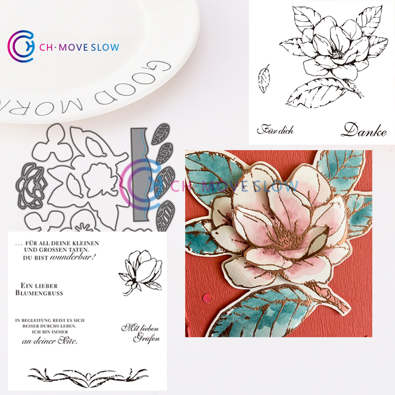 CH Magnoliengruss Metal Cutting Dies and stamps DIY Scrapbooking Card Paper Craft Handmade Album Handbook Decor(2 pcs stamps)(China)