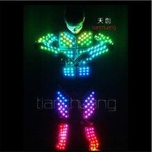 TC-116 Colorful light robot stilts mens costume led club wear ballroom dance led RGB cloth luminous full color suit programmable