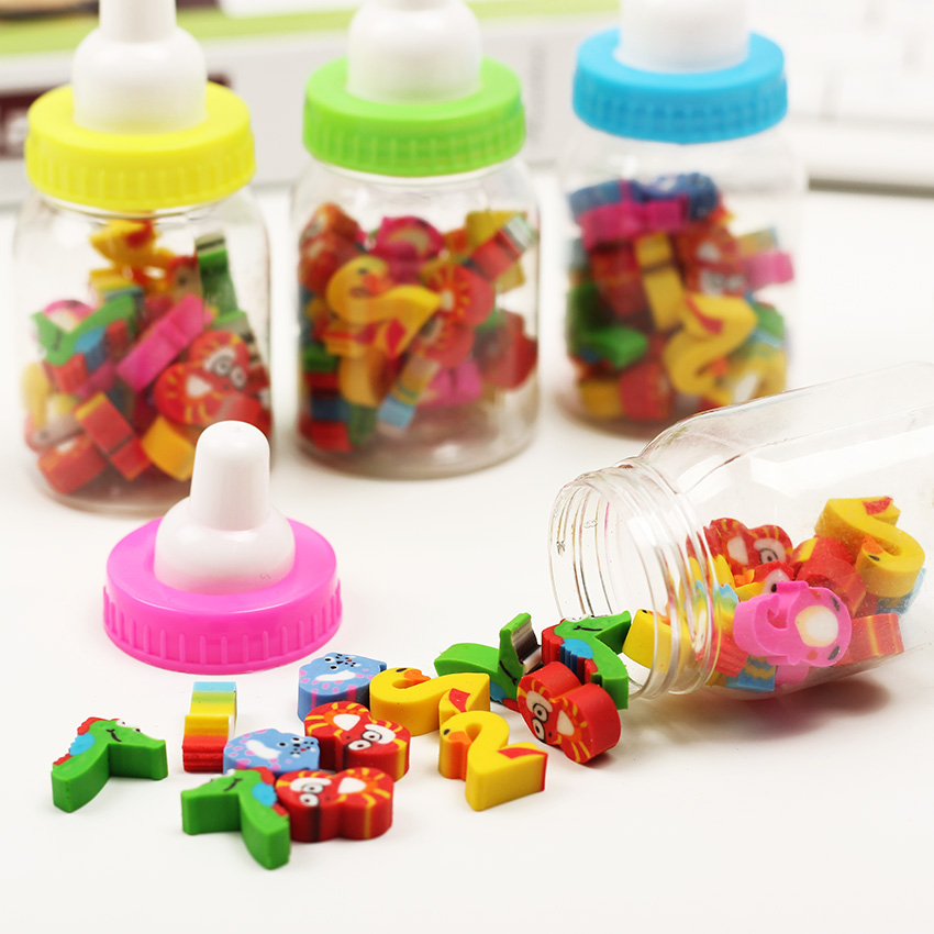 A Bottles 20PCS/lot Mini Kawaii Cartoon Erasers Digital Animal Eraser Office Supplies