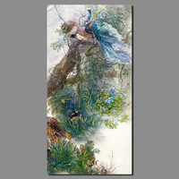 Big Size Chinese Style Meticulous Peacock Animals Decoration Flowers Wall Art Pictures Birds Canvas Painting Home