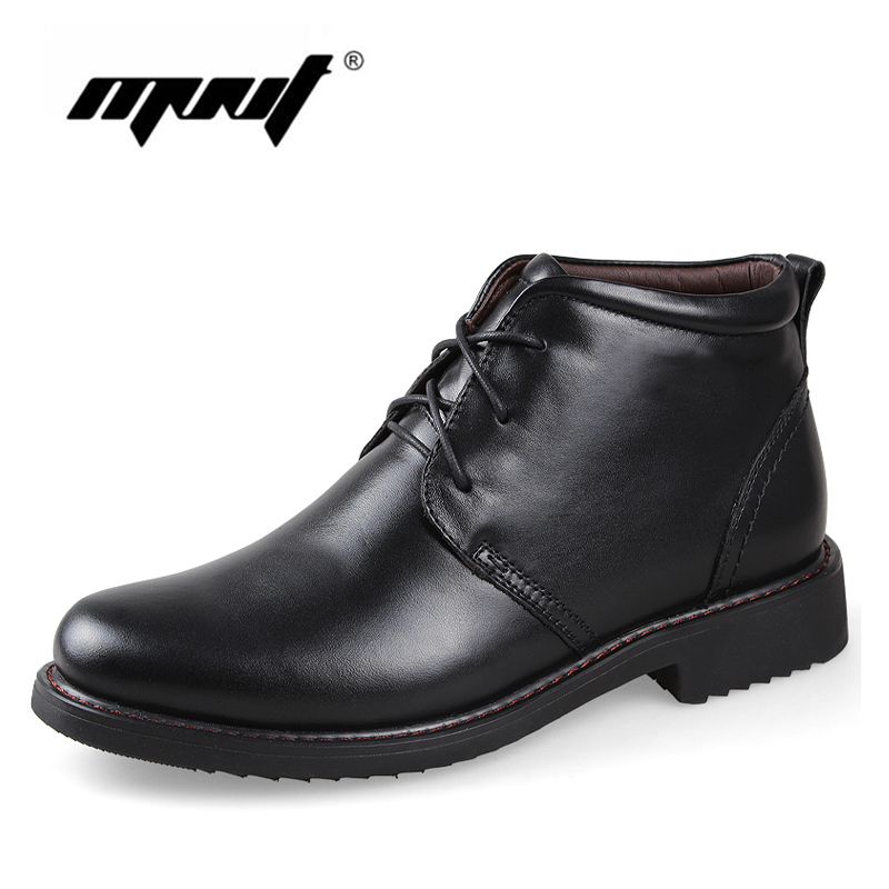Genuine Leather Men Boots, Handmade Super Warm Men Winter Shoes,High Quality Ankle Boots For Autumn And Winter Shoes mulinsen latest lifestyle 2017 autumn winter men