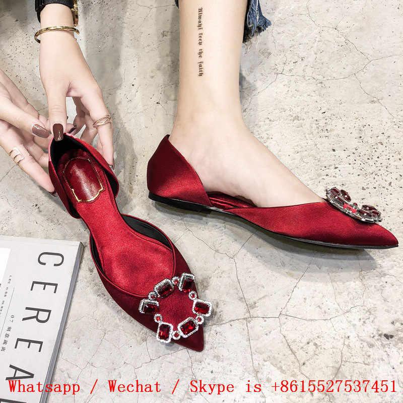 คริสตัลสตรี 2019 นิ้วเท้าชี้รองเท้าแบนรองเท้าผู้หญิง Loafers ตื้น Zapatillas Mujer Slip ล่อ Casual สุภาพสตรีรองเท้า