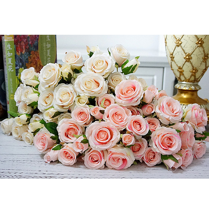 TOPHOUSE 40pcs Artificial Flowers Roses Real Touch Fake Roses for DIY Wedding Bouquets Bridal Shower Party Home Decorations Ice Pink