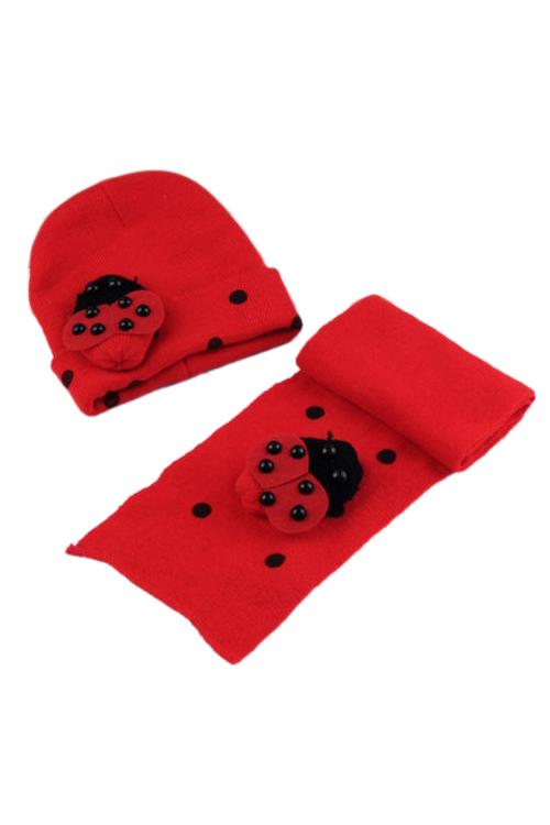 2017 NEW Red Baby Boy Girl Toddler Winter Ladybird Ladybug Hat And Scarf Set