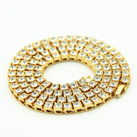 Hip Hop Gold Chain 1 Row 6mm Round Cut Tennis Necklace Chain 24 Inch Length Mens