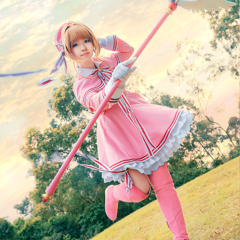 2019 New Halloween Cardcaptor Sakura: Clear Card Sakura Kinomoto Pink Dress Cosplay Costume Custom-made For Christmas