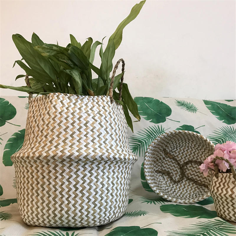 Bamboo Storage Basket Handmade Wicker Rattan Foldable Laundry Flower Pot Planter