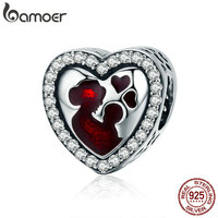 BAMOER 100 925 Sterling Silver Great Mother S Love Heart Engrave Charm Beads Fit Bracelet Necklace