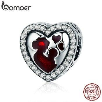 BAMOER 100% Plata de Ley 925 el corazón del amor de la Gran Madre graba las cuentas del encanto en forma de pulsera y collar joyería regalo de la madre SCC634