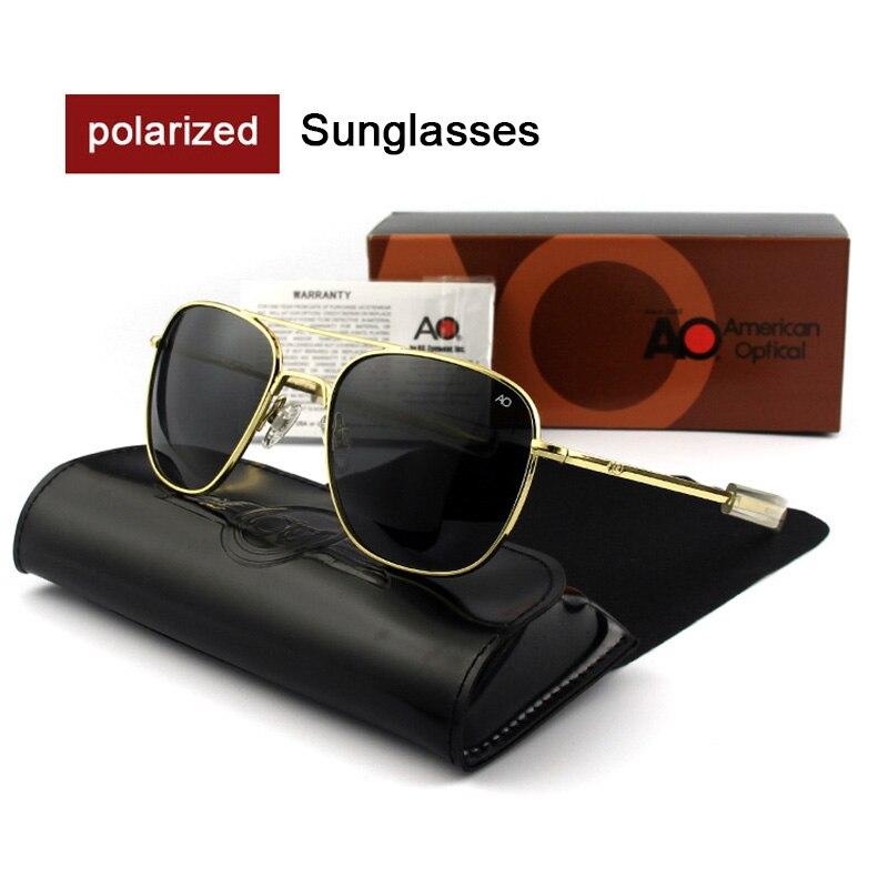 Mode haute qualité AO lunettes de soleil marque Designer lunettes de soleil hommes armée américaine pilote militaire mâle polarisé verre OP55-OP57
