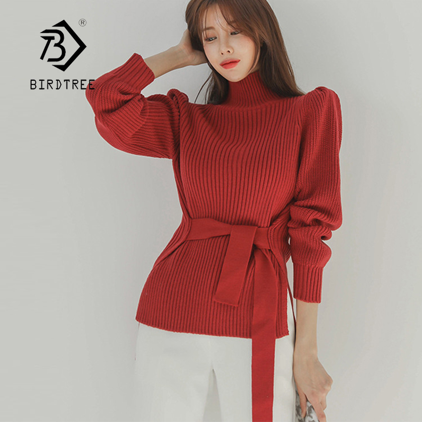 New Arrival Women Winter Solid Turtleneck With Belt High Waist Sweater Soft Knitted Puff Sleeve Side Split Elegant Top T97808F