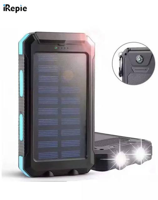 IRepie Portable USB 10000 mAh Solar Powerbank Universal de Carga de la batería a prueba de agua Luz LED Brújula Al Aire Libre para el teléfono móvil