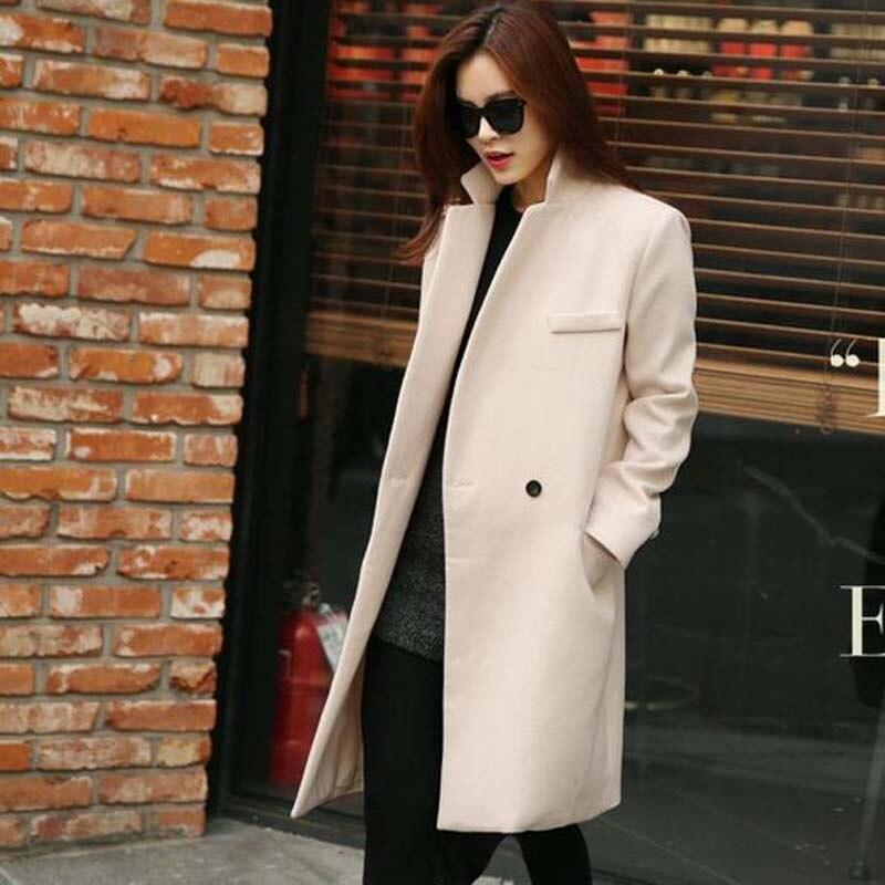 Elegant Women Wool Coat Tailored Suit Collar V Neck Long