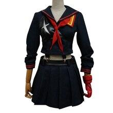 Новый модный стиль убить ла костюм Matoi Косплей Платья Женщины Матрос равномерное партия школьная Униформа с Топ и юбка
