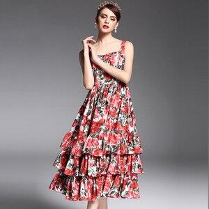 2017 новейшее летнее модное дизайнерское подиумное платье для женщин на тонких бретельках, сексуальное Многоярусное красное розовое платье ...