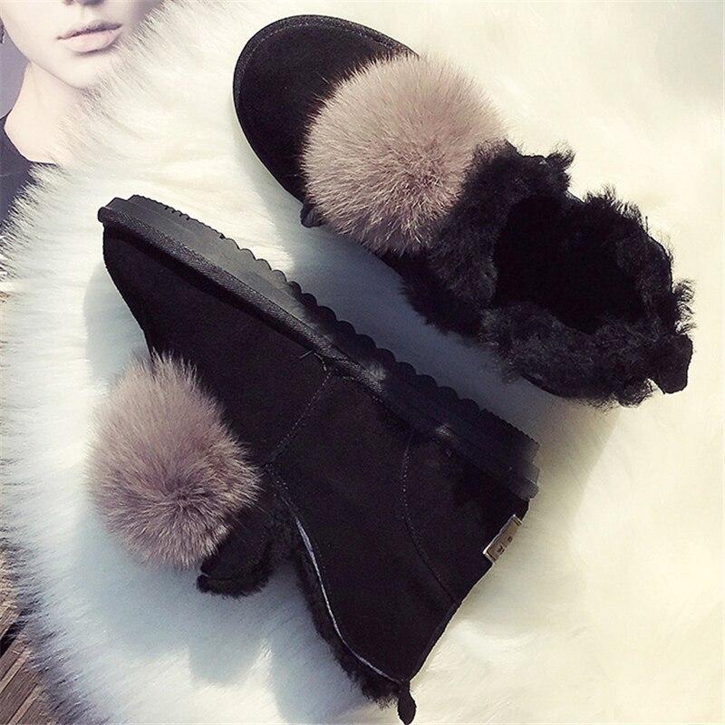 Dames khaki Chaussures Bottes Plat Laine Véritable De Boule Cuir Kaki Black Peluche Mode Neige D'hiver Cheville En Noir Fourrure Femmes mOy8wvnN0