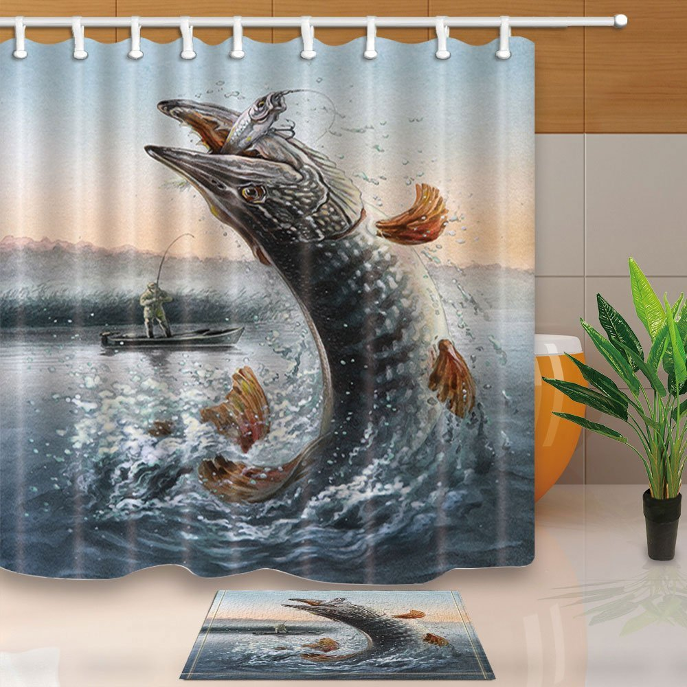 Painting Fishing Bath Curtain, Man in Boat Fishing Big Fish in WavesShower Curtain Suit