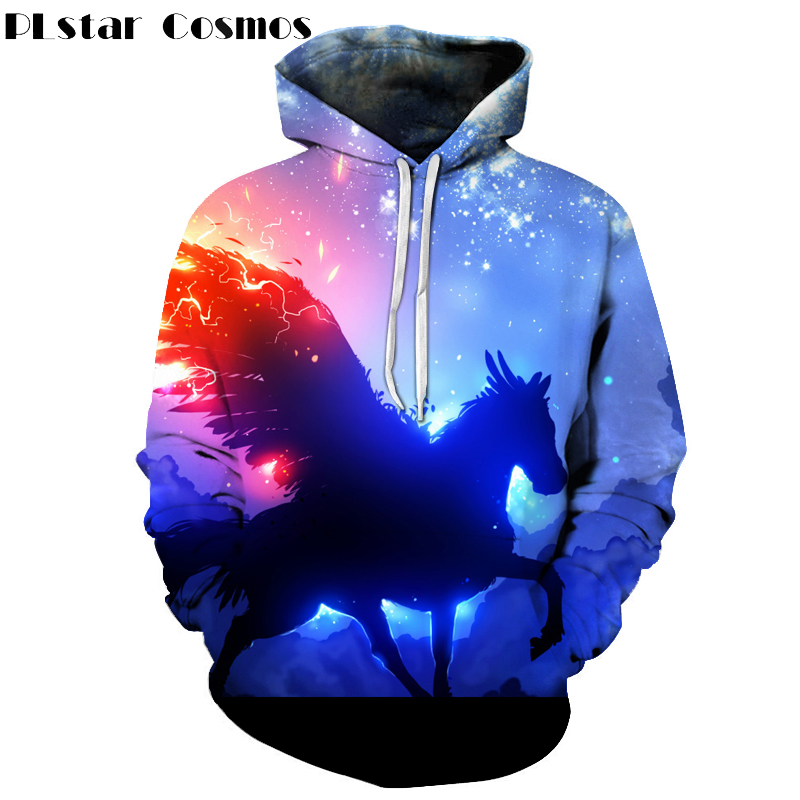 PLstar Cosmos Autumn Spring 3D Printed Pullovers Men/Women Hoodies Sweatshirts Angel Wings Horse Print Hoodie Unisex Outwear
