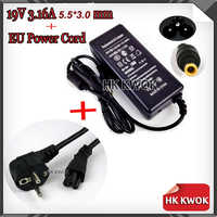 19V 3.16A 5.5*3.0mm AC Laptop Adapter Charger + EU Power Cord Supply For samsung R478 R440 R780 R453 R528 R540 Portable Charger