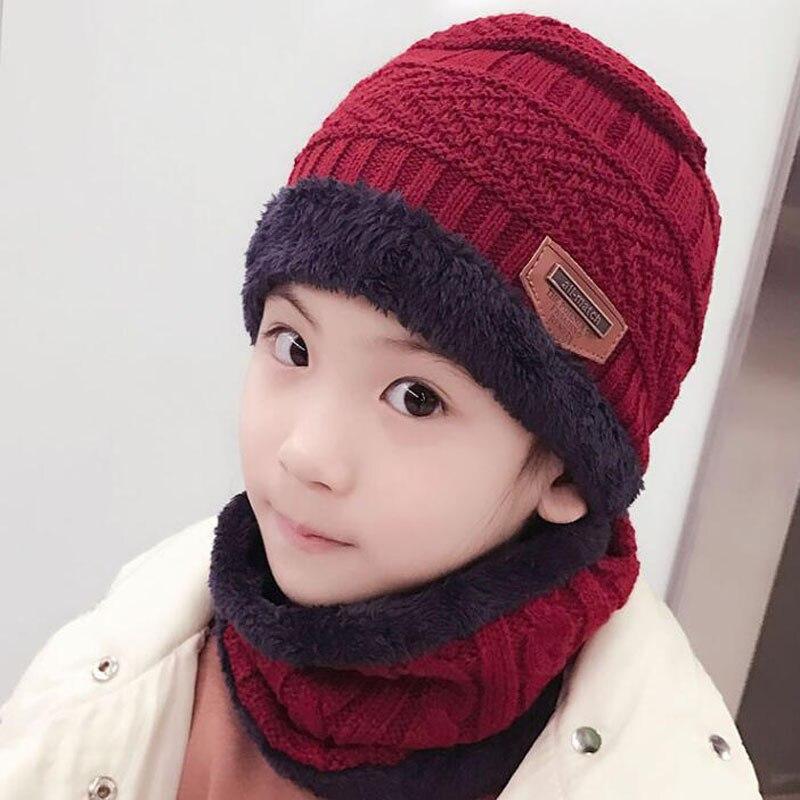 SUOGRY Children Winter Hat and Scarf Set for Boys Girls Knitted Cap Kids Fleece Skullies Beanies Balaclava