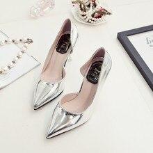 2016 mujeres del verano del resorte nuevos zapatos de tacón alto clásicos señora punta estrecha bombas plata sexy señalaron los zapatos de cuero femeninos
