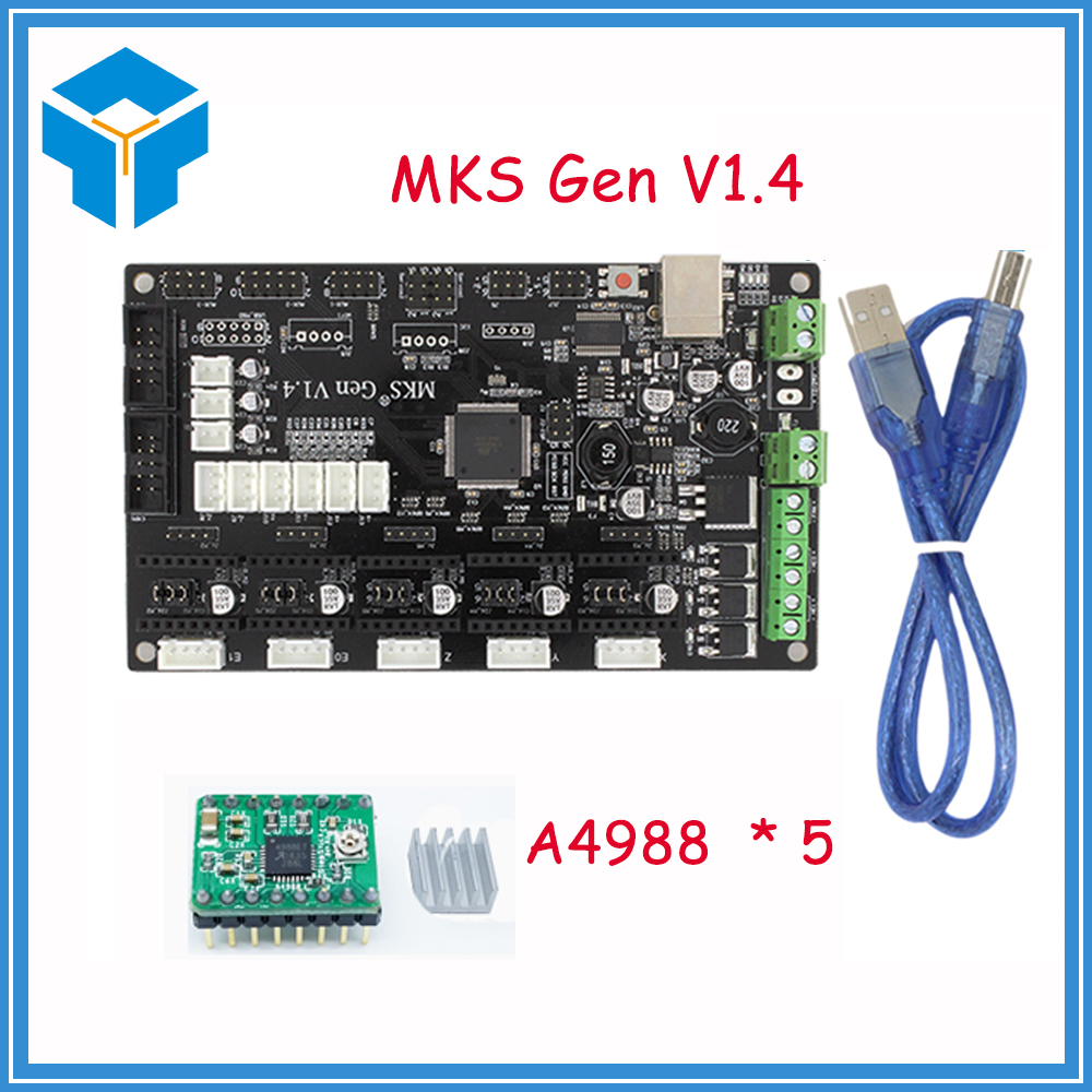 3D printer GreenA4988 MKS Gen V1.4 control board Mega 2560 R3 motherboard RepRap Ramps1.4 compatible with USB and 5PCS A4988 ниши к золотые правила здоровья