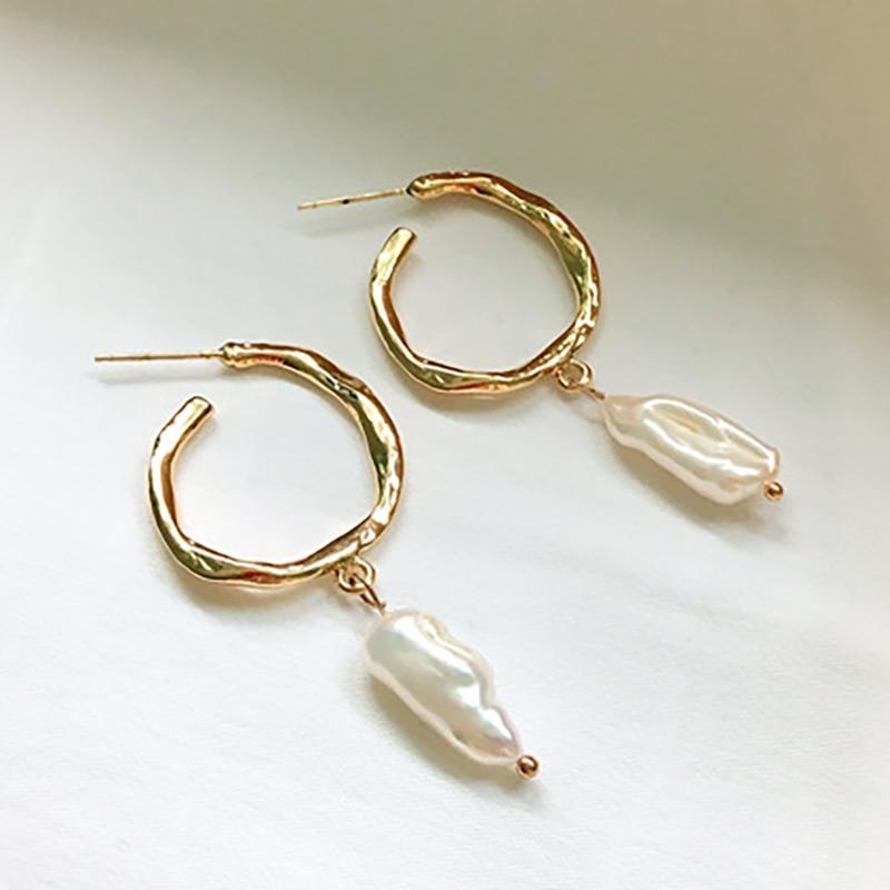 SRCOI Gold Color Metal Freshwater Pearl Hoop Earrings S925 Sterling Silver Pin Geometric Circle Wedding Earrings Women Jewelry