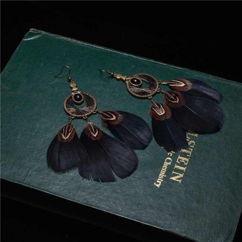 Boho feito à mão longas penas pedras pingente brincos para mulheres jóias boêmio grande étnico sonho apanhador preto grânulos brinco presente