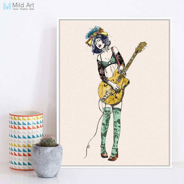Vintage Retro Guitar Girl Pop Rock Roll Music A4 Large Art ...