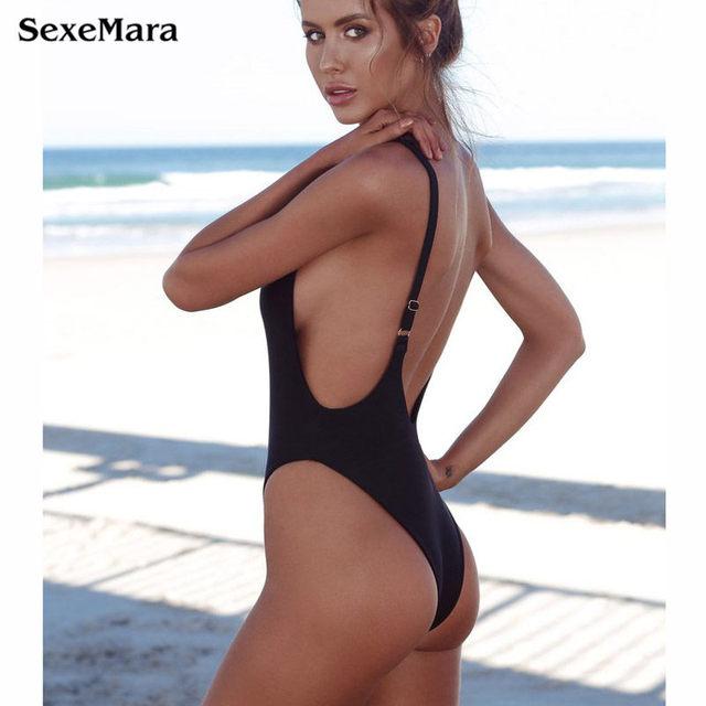 Thong Black 2018 Sexy One Piece Swimsuit Solid Female Women Fused Swimwear Backless White Brazilian May Bather Monokini XL 1