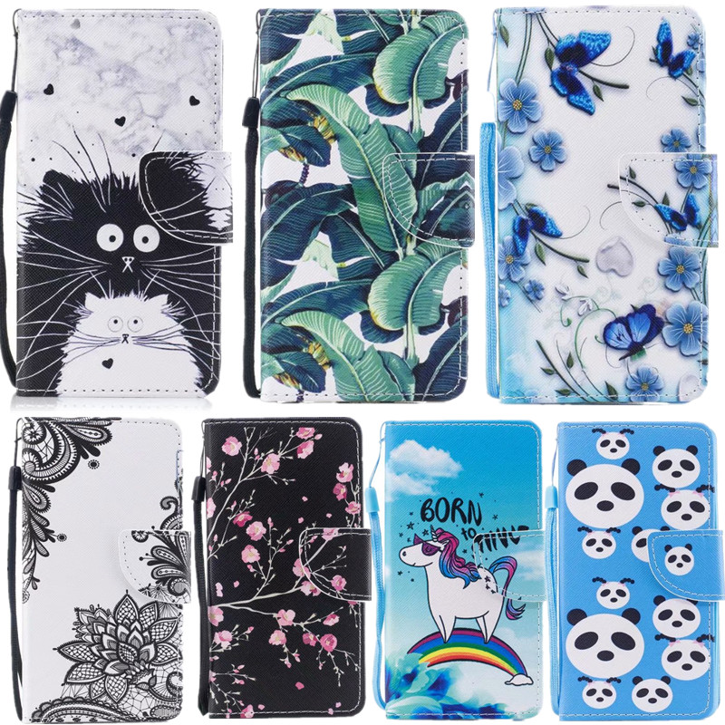 Fashion animal Leaves flowers pattern For iPhone 6s 6plus 5S SE 5 iphone 7 8 plus x PU Leather Flip Cover case with Card Slots