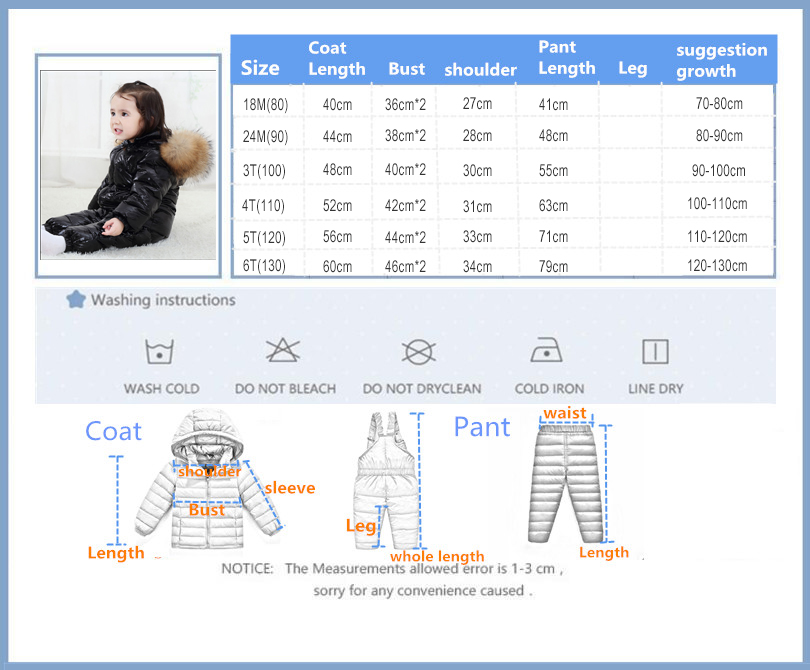 2020 Nieuwe Kinderkleding Set Rusland Winter Thicken Snowsuit 2 6y Jongens 90% Witte Eendendons Kleding Meisjes Winter Outfit jas - 6