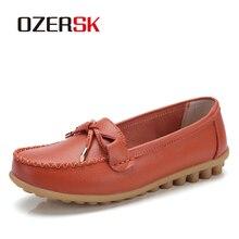 OZERSK kadın Flats ayakkabı bale düz ayakkabı hakiki deri yaz yumuşak Moccasins bayanlar tekne balerin Espadrilles sürüngen