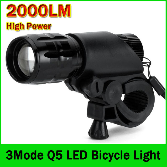 Bicycle Light 2000 Lumens 3 Mode Q5 Led Headlight Bike Light Front Torch Waterproof Ip6 Torch Holder Zk93 Led Flashlights Led Lighting