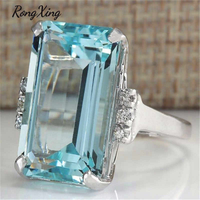RongXing New Style Big Square Stone Clear Blue March Birthstone Rings For Women 925 Silver Filled Crystal Zircon Jewelry ZR0088