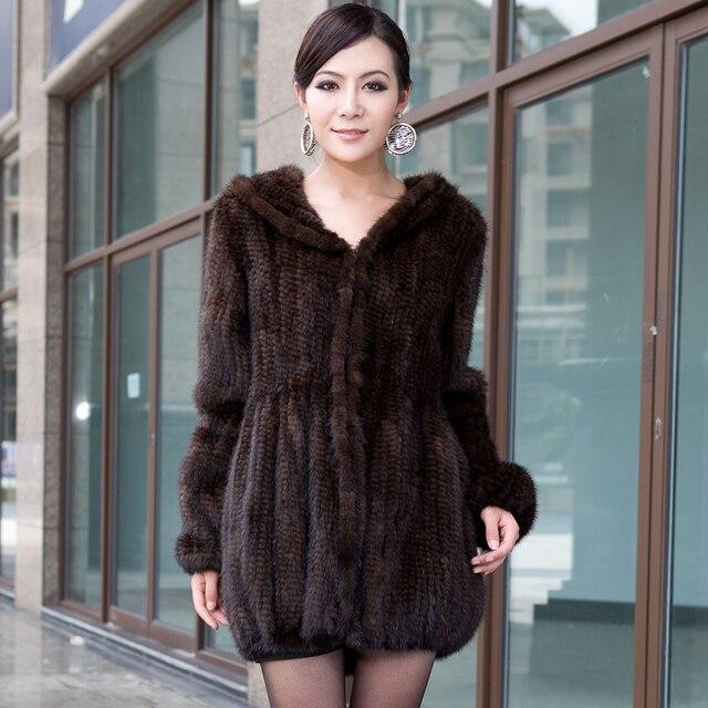 2018New mink fur coat women's long-sleeve top fashion all-match Mink knit jacket mink knitted coat Free shipping