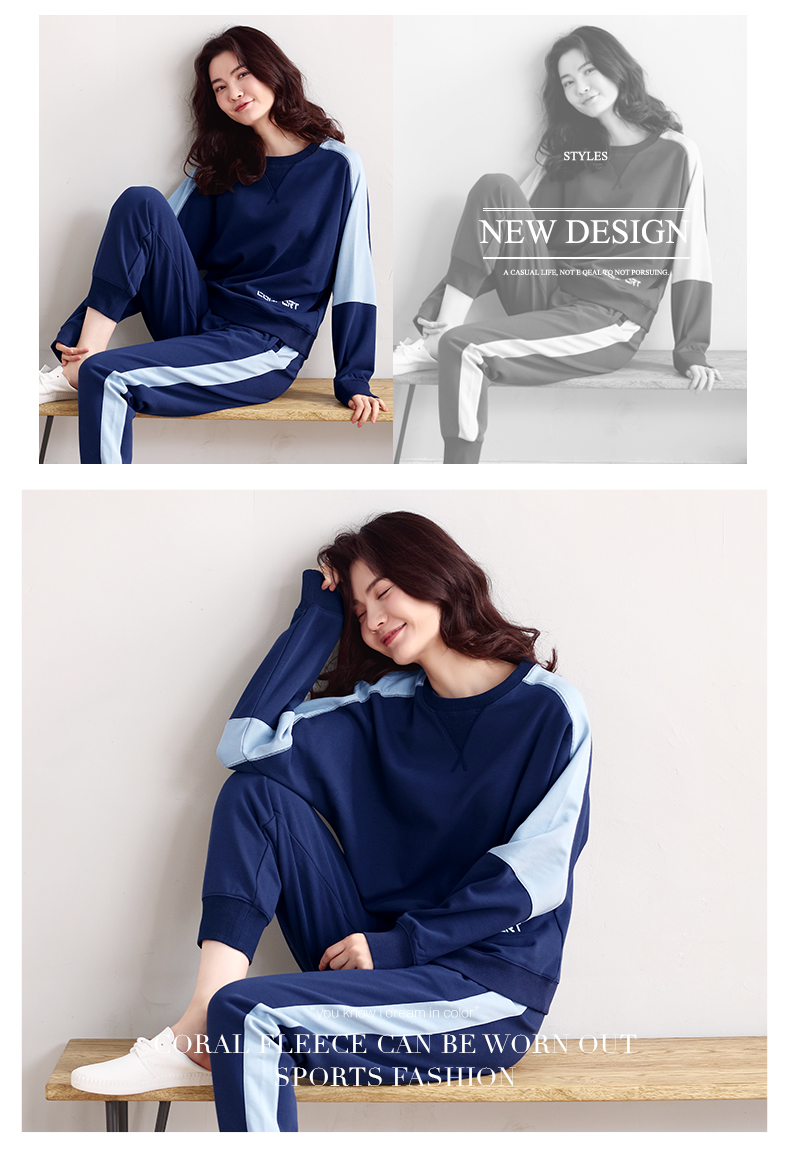 Women\`s sports pajamas autumn cotton long-sleeved home service size ladies suit loose tops plus elastic pants two sets of women\`s pajamas (18)