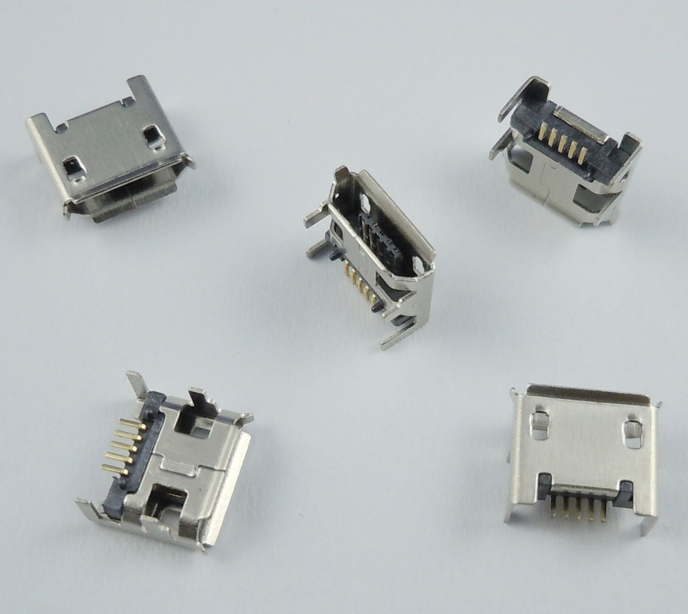 50 Pcs Micro USB Type B Female 5 Pin DIP Socket Connector 4 Legs wholesale 20 pcs micro usb type b female 5 pin smt placement smd dip socket connector plug adapter
