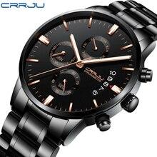 CRRJU новые мужские водонепроницаемые спортивные наручные часы с календарем с многофункциональным хронографом кварцевые тяжелые часы модные мужские часы
