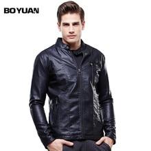 BOYUAN Leather Jacket Men Jaquetas De Couro Masculino Herren Lederjacke Mens Faux Leather Jackets Mens Leather Overcoat 8627